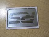 Наклейка s надпись RS 80х50х1мм полосатая силиконовая полоска фон серый на авто надпись РС медальон, фото 4