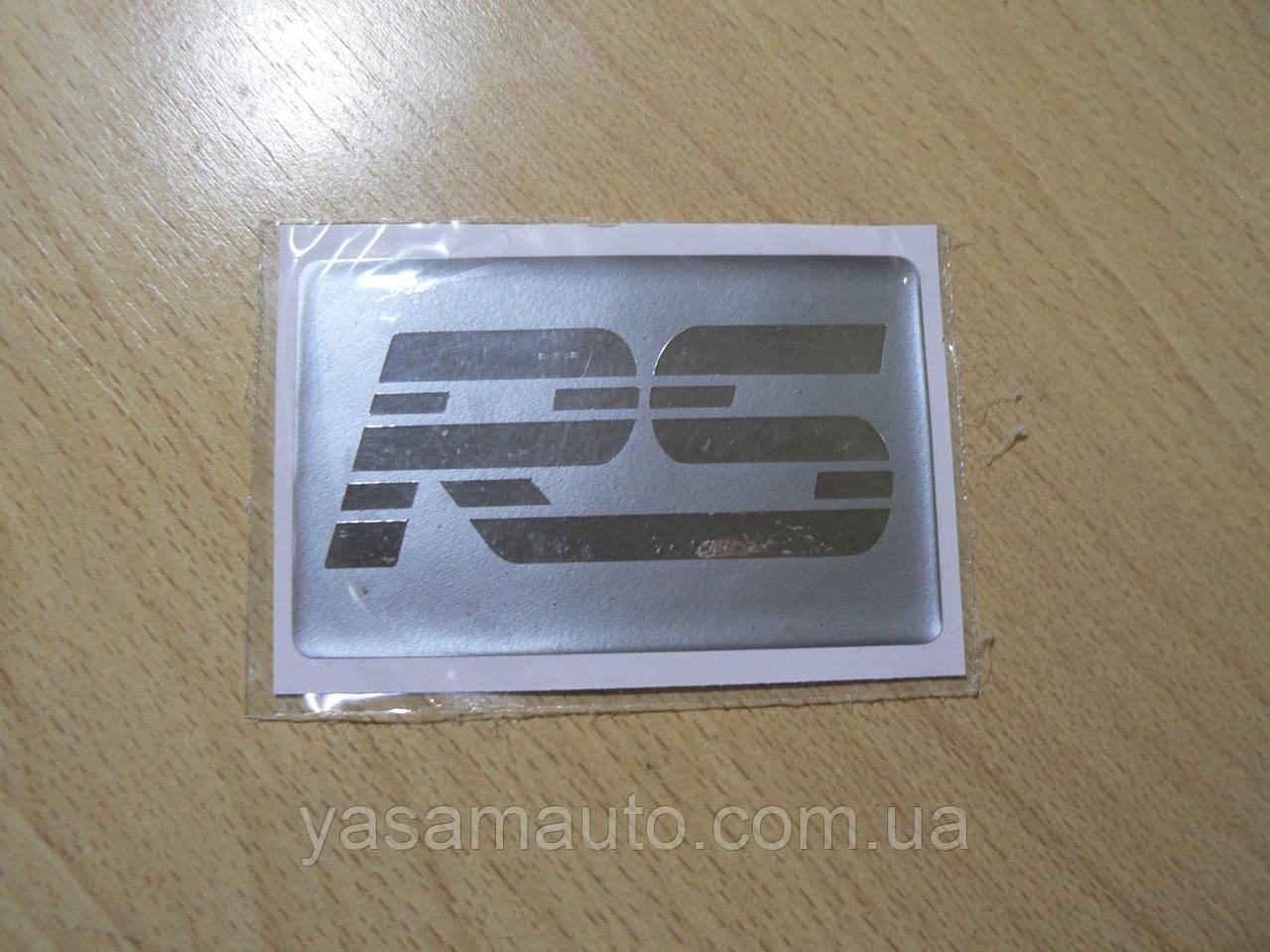 Наклейка s надпись RS 80х50х1мм полосатая силиконовая полоска фон серый на авто надпись РС медальон