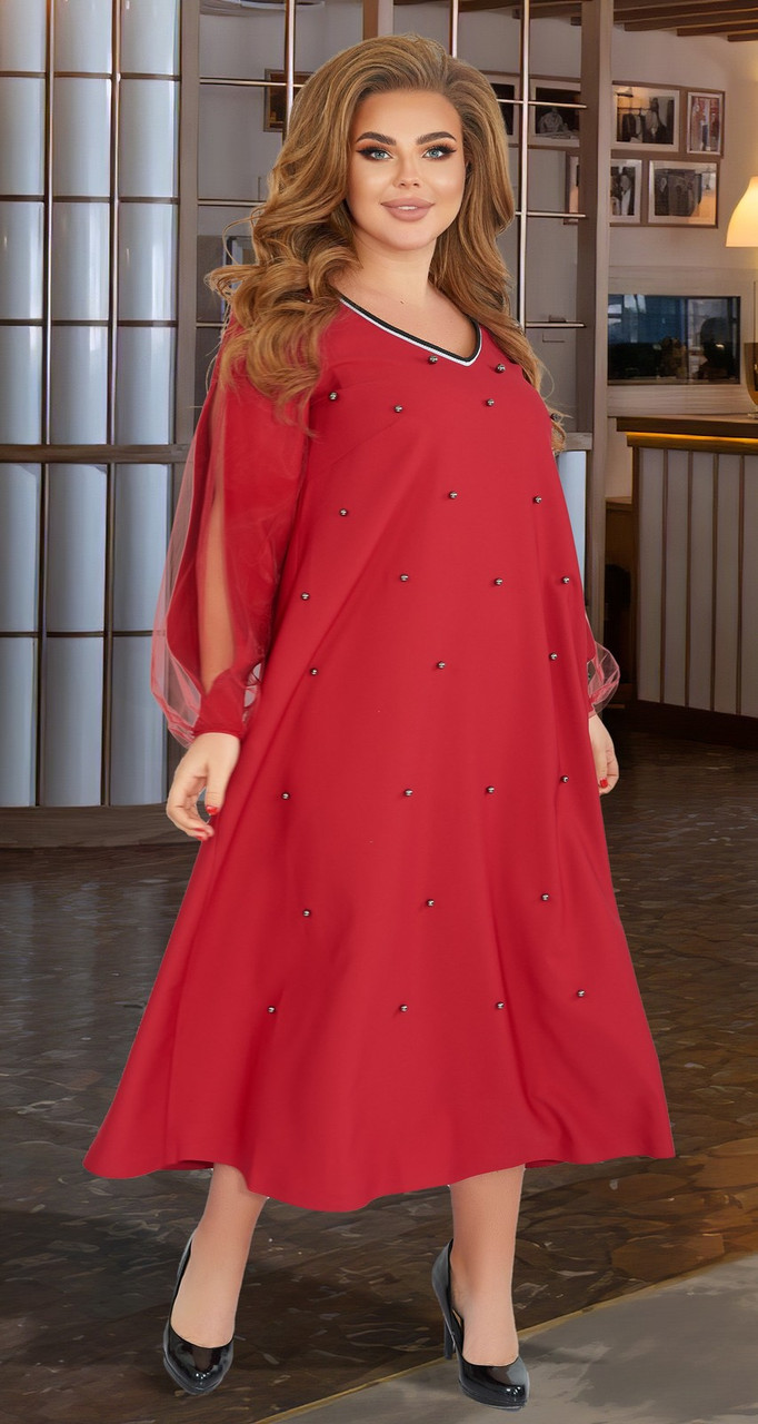 Бордовое красивое платье с жемчугом (батал)