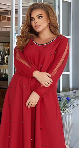 Бордовое красивое платье с жемчугом (батал), фото 2
