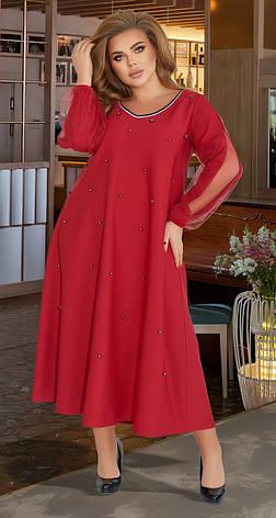 Бордовое красивое платье с жемчугом (батал), фото 3
