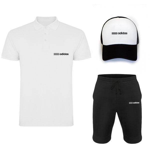 Комплект тройка кепка шорты и поло Адидас, для мужчин