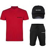 Комплект тройка кепка шорты и поло Адидас, для мужчин, фото 6