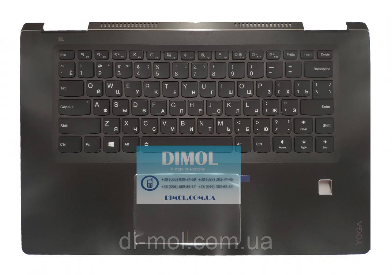Оригинальная клавиатура для Lenovo Yoga 710-15 series, black, ru, подсветка, черная передняя панель