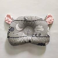 Ортопедическая подушка для новорожденного masterwork teddy bear аэропух 21*27 см. серая с розовым