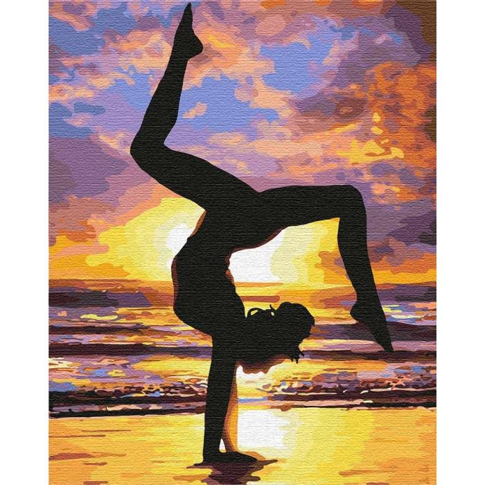 Картина по номерам - Йога на закате Идейка 40*50 см. (КНО4749)
