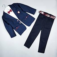 Костюм тройка синий пиджак рубашка узкие брюки оптом для мальчика 5 лет Турция 3926, фото 1