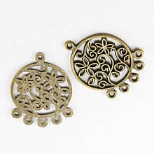 Коннектор круглый Цветок бронза, серебро, 6 отверстий, размер: 35х26х1.5мм, 1 уп - 2 шт