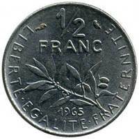 Франция 1/2 франка 1965—2001 год. Пятая республика
