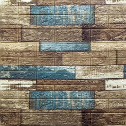 Мягкие 3D панели 770x700x5мм (самоклейка) Синее Дерево