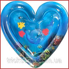 Детский развивающий игровой надувной водный коврик с водой и рыбками для детей сердце