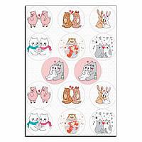 Капкейки-6 см Влюбленные зверушки 1 вафельная картинка