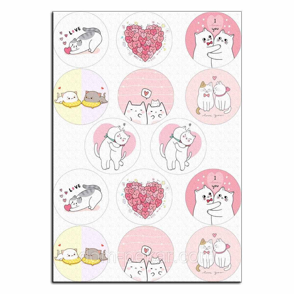 Капкейки-6 см Влюбленные котики 3 вафельная картинка