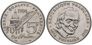 Франция 5 франков 1994 Франция — 300 лет со дня рождения Вольтера