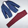 Костюм тройка синий пиджак рубашка узкие брюки оптом для мальчика 5-9 лет Турция 483-0