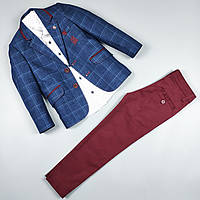 Костюм тройка синий пиджак рубашка узкие брюки оптом для мальчика 5-9 лет Турция 483-0, фото 1