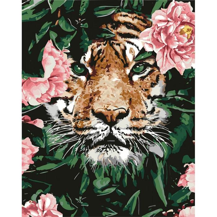 Картина по номерам - Отважный тигр Идейка 40*50 см. (КНО4172)