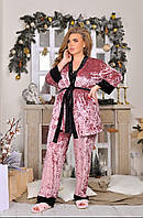 Красивый женский бархатный комплект тройка пижама маечка штаны и халат роза батал 52 54 56, фото 1
