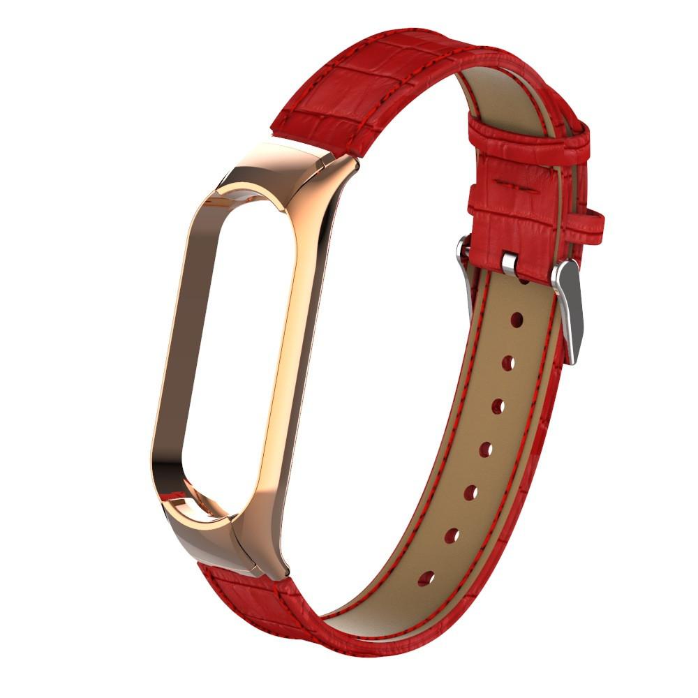 Ремешок для фитнес браслета Steel-Leather design bracelet for Xiaomi Mi Band 3/4 Red
