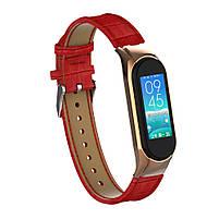 Ремешок для фитнес браслета Steel-Leather design bracelet for Xiaomi Mi Band 3/4 Red, фото 4