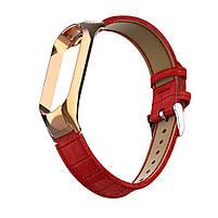 Ремешок для фитнес браслета Steel-Leather design bracelet for Xiaomi Mi Band 3/4 Red, фото 3