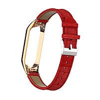 Ремешок для фитнес браслета Steel-Leather design bracelet for Xiaomi Mi Band 3/4 Red, фото 2