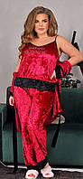 Красивый женский бархатный комплект тройка пижама маечка штаны и халат бордовый батал 52 54 56, фото 1