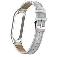Ремешок для фитнес браслета Steel-Leather design bracelet for Xiaomi Mi Band 3/4 White, фото 2