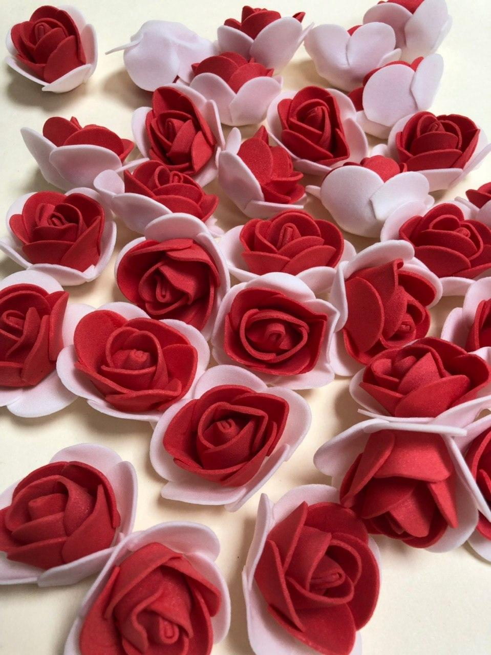 Розы из латекса, 2х цветные, красный с белым (ФОМ, FOAM) 500 шт пачка (для мишек)