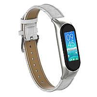 Ремешок для фитнес браслета Steel-Leather design bracelet for Xiaomi Mi Band 3/4 White, фото 4