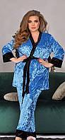 Красивый женский бархатный комплект тройка пижама маечка штаны и халат бирюзовый батал 52 54 56, фото 1