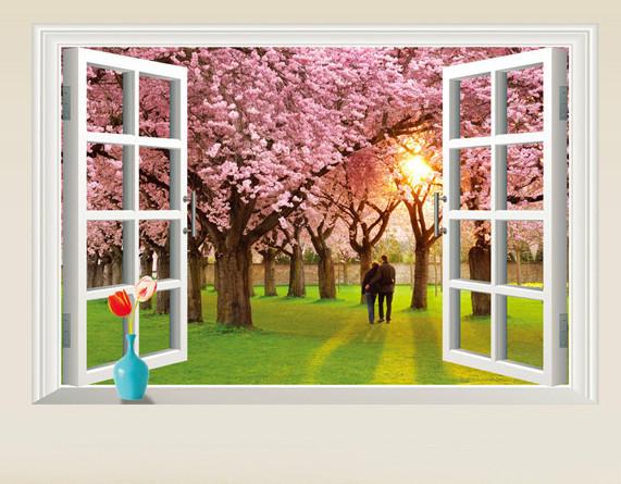Інтер'єрна наклейка на стіну Пара в саду сакури (AY9234E)