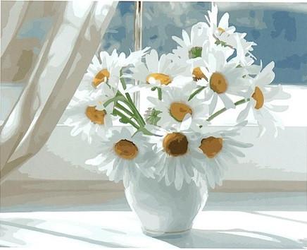 Картина по номерам Brushme Ромашки в белой вазе на окне
