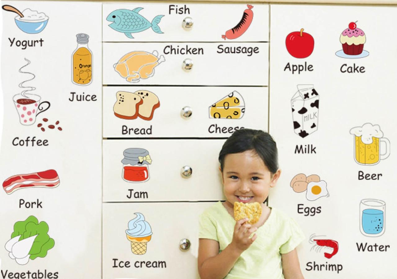 Інтер'єрна наклейка на стіну Дитяча Їжа Англійською AM7090