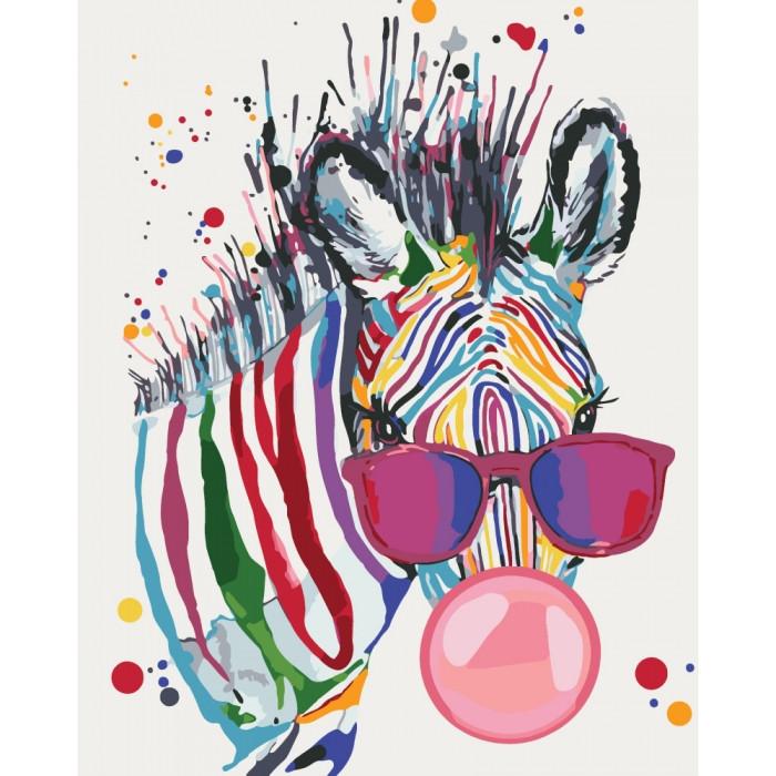 Картина по номерам - Яркая зебра Идейка 40*50 см. (КНО4071)