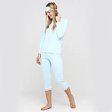 """Женская пижама из хлопка кофта с бриджами с маской  """"Нежность"""" 44-52"""