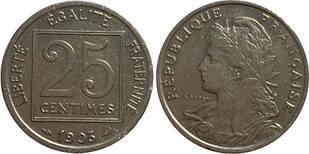 Франция 25 сантимов 1903 год