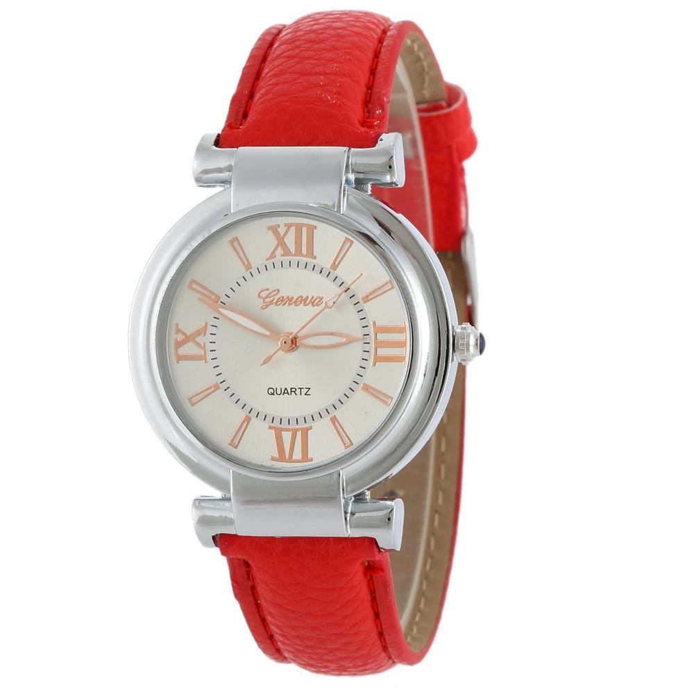 Часы женские наручные Geneva Wish красный ремешок 129-3