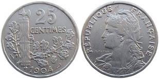 Франция 25 сантимов 1904 год