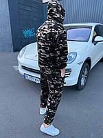 Мужской зимний камуфляжный спортивный костюм с капюшоном