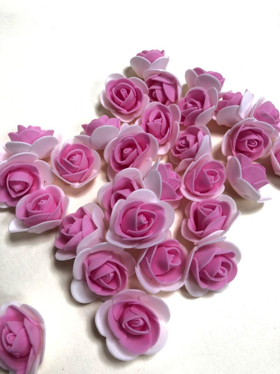 Розы из латекса, 2х цветные, розовый с белым (ФОМ, FOAM) 500 шт пачка (для мишек)
