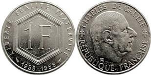 Франция 1 франк 1988 Франция — 30 лет Пятой Республике