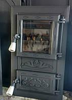 """Дверка для пічки,каміна ,барбекю  з склом""""Вогник чорний"""""""