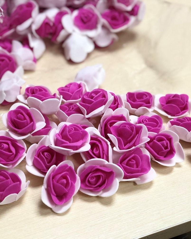 Розы из латекса, 2х цветные, фуксия с белым (ФОМ, FOAM) 500 шт пачка (для мишек)