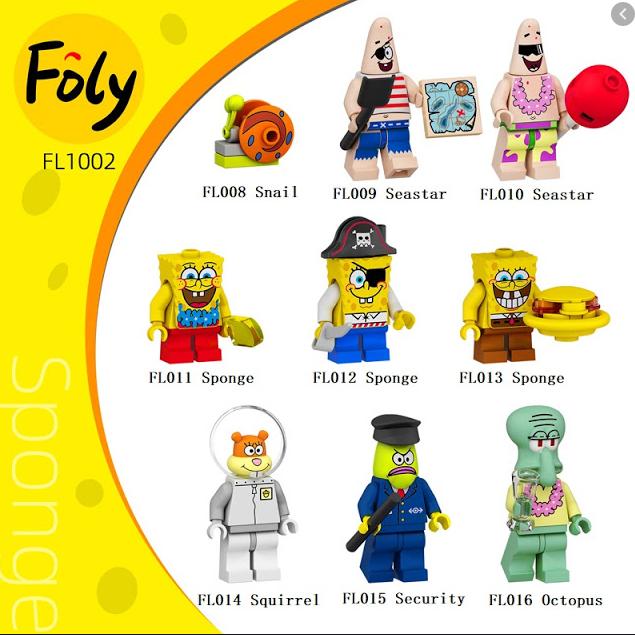 Набор фигурок Губка Боб 9 шт с аксессуарами. Лего совместимый.