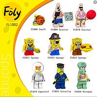 Набор фигурок Губка Боб 9 шт с аксессуарами. Лего совместимый., фото 1