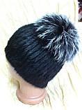 Меховая шапка из норки на вязанной  основе с верхом из чернобурки, фото 3