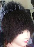 Меховая шапка из норки на вязанной  основе с верхом из чернобурки, фото 6