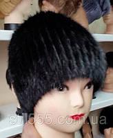 Меховая шапка из ондатры чёрного цвета на вязанной основе с донышком