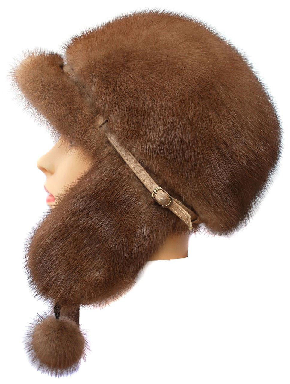 Женская  норковая  ушанка цвет коричневый